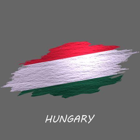 Grunge styled flag of Hungary. Brush stroke background