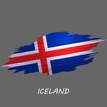 Grunge styled flag of Iceland. Brush stroke background Ilustrace