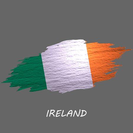 Grunge styled flag of Ireland. Brush stroke background