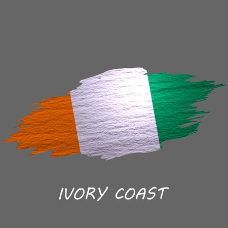 Grunge styled flag of Ivory Coast. Brush stroke background