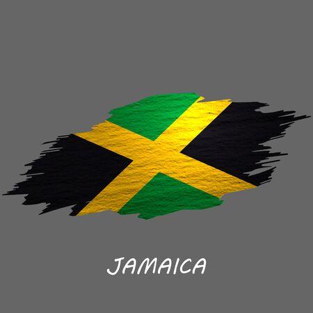 Grunge styled flag of Jamaica. Brush stroke background