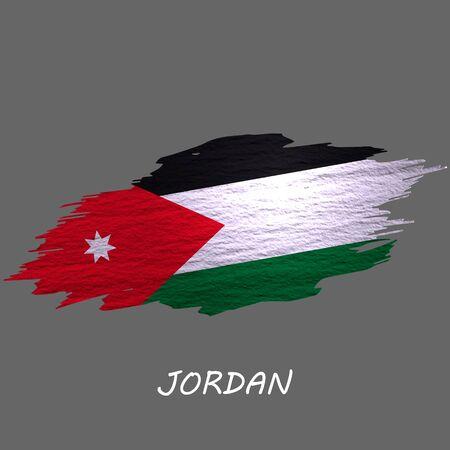 Grunge styled flag of Jordan. Brush stroke background