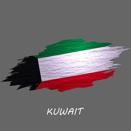 Drapeau de style grunge du Koweït. Fond de coup de pinceau Vecteurs