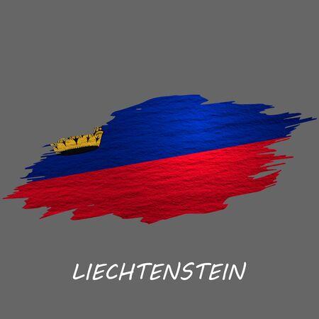 Grunge styled flag of Liechtenstein. Brush stroke background