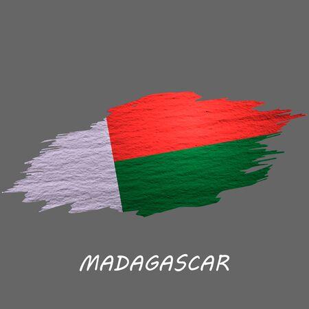 Grunge styled flag of Madagascar. Brush stroke background