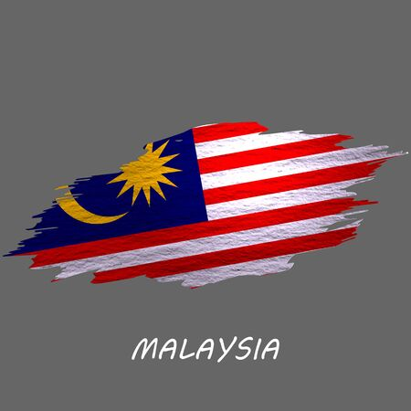 Grunge styled flag of Malaysia. Brush stroke background