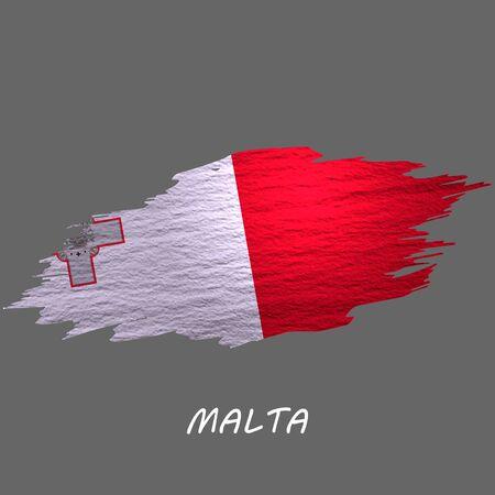 Grunge styled flag of Malta. Brush stroke background Ilustrace