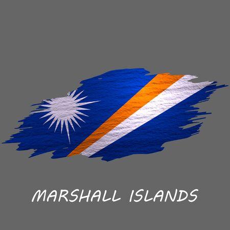 Grunge styled flag of Marshall Islands. Brush stroke background