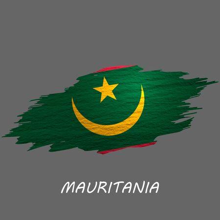 Grunge styled flag of Mauritania. Brush stroke background