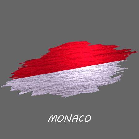 Grunge styled flag of Monaco. Brush stroke background