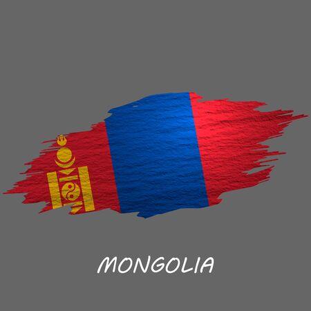 Grunge styled flag of Mongolia. Brush stroke background Illusztráció