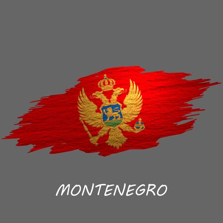 Grunge styled flag of Montenegro. Brush stroke background
