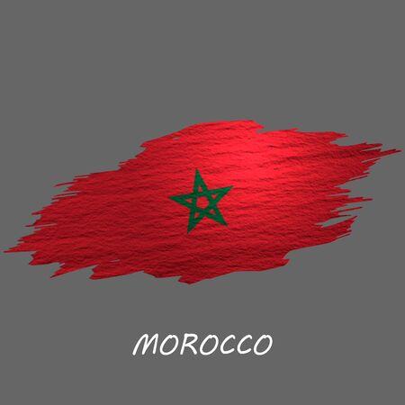Grunge styled flag of Morocco. Brush stroke background Ilustrace