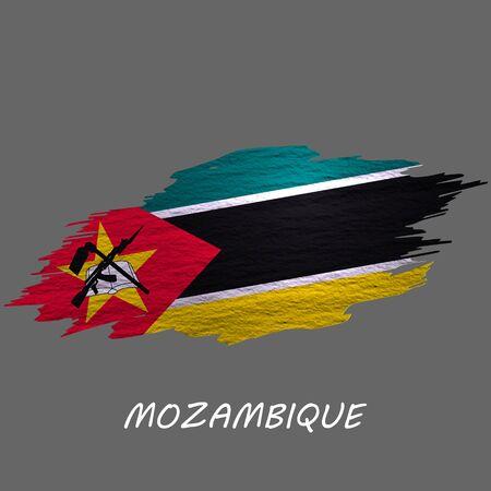 Grunge styled flag of Mozambique. Brush stroke background Ilustrace