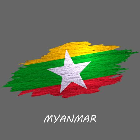 Grunge styled flag of Myanmar. Brush stroke background Ilustrace