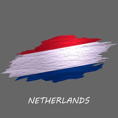 Grunge styled flag of Netherlands. Brush stroke background