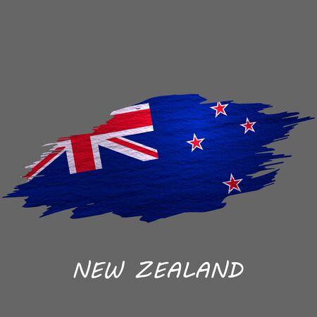 Grunge styled flag of New Zealand. Brush stroke background