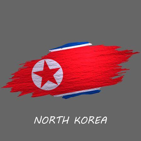 Grunge styled flag of North Korea. Brush stroke background