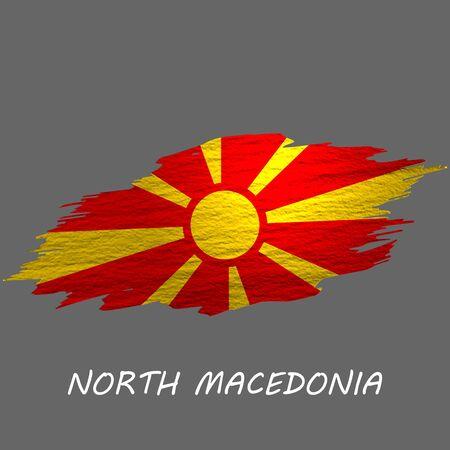 Grunge styled flag of North Macedonia. Brush stroke background Ilustrace