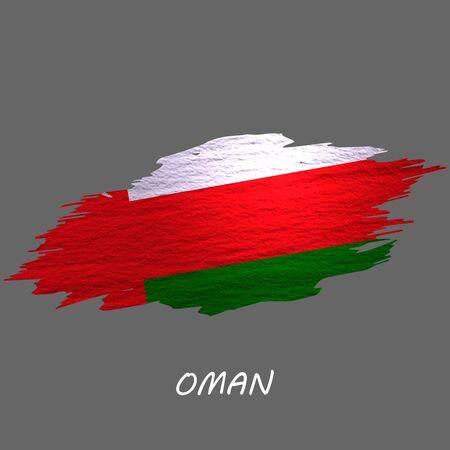 Grunge styled flag of Oman. Brush stroke background