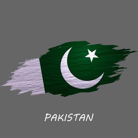Grunge styled flag of Pakistan. Brush stroke background Ilustrace