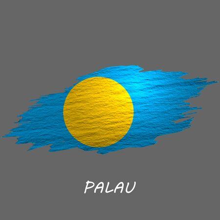 Grunge styled flag of Palau. Brush stroke background