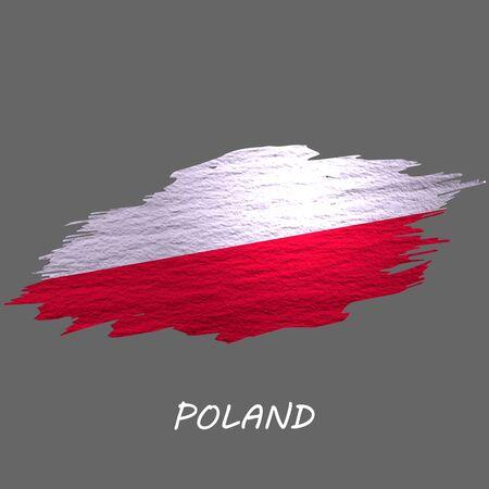 Grunge styled flag of Poland. Brush stroke background Ilustrace