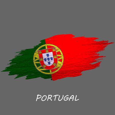 Grunge styled flag of Portugal. Brush stroke background Ilustrace
