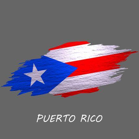 Grunge styled flag of Puerto Rico. Brush stroke background
