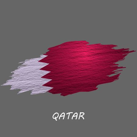 Grunge styled flag of Qatar. Brush stroke background