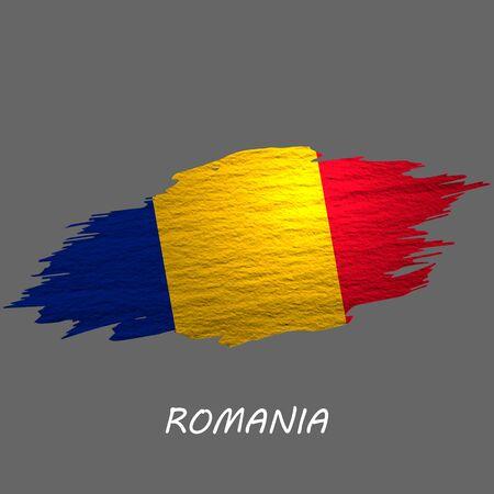 Grunge styled flag of Romania. Brush stroke background