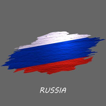 Grunge styled flag of Russia. Brush stroke background