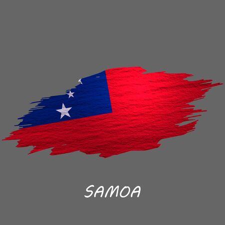 Grunge styled flag of Samoa. Brush stroke background