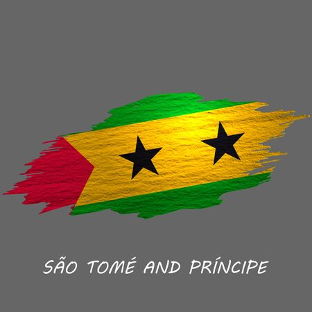 Grunge styled flag of Sao Tome and Principe. Brush stroke background
