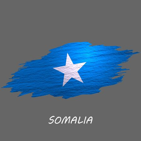 Grunge styled flag of Somalia. Brush stroke background