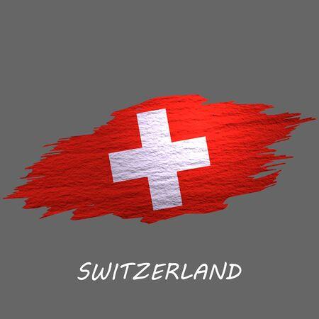 Grunge styled flag of Switzerland. Brush stroke background