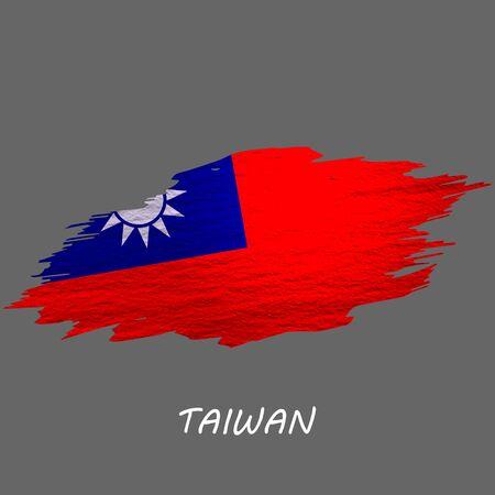 Grunge styled flag of Taiwan. Brush stroke background
