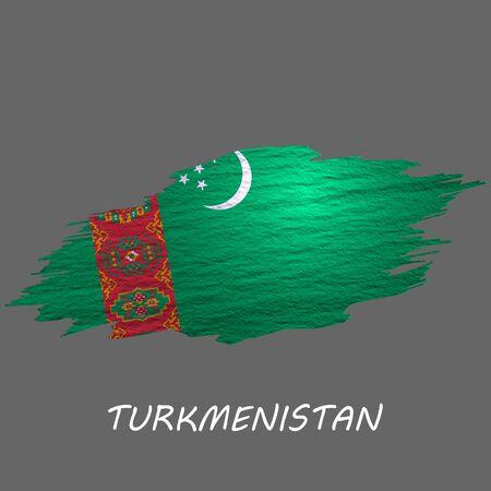 Grunge styled flag of Turkmenistan. Brush stroke background Ilustrace