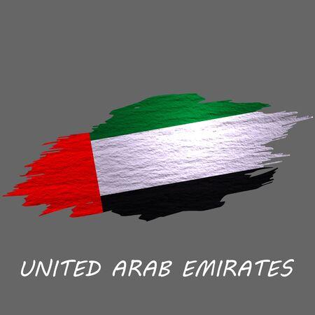 Grunge styled flag of United Arab Emirates. Brush stroke background