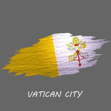 Grunge styled flag of Vatican City. Brush stroke background