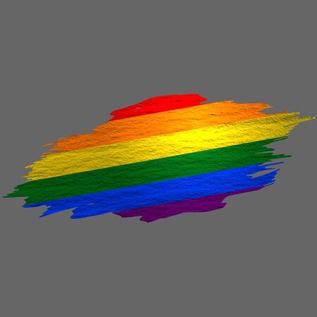 Grunge styled flag of LGBT pride. Brush stroke background Ilustrace