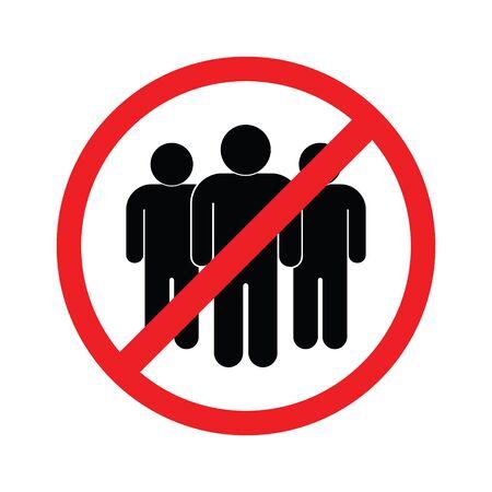 No crowd, Social Distancing sign for quarantine. Stop coronavirus Ilustración de vector