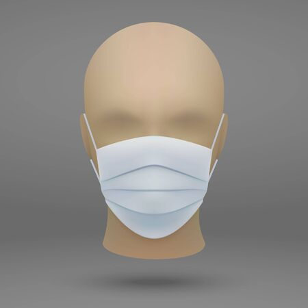 3d realistic mannequin head with medical face mask