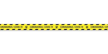Caution biohazard black and yellow striped borders vector illustration. Border stripe web, warning banner 일러스트