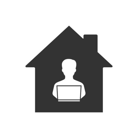 Remote work online icon. Corona virus vector icon. Template for your design
