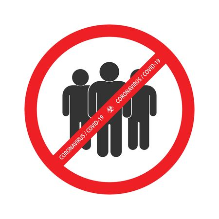 No crowd, Social Distancing sign for quarantine Corona virus vector icon. Template for your design