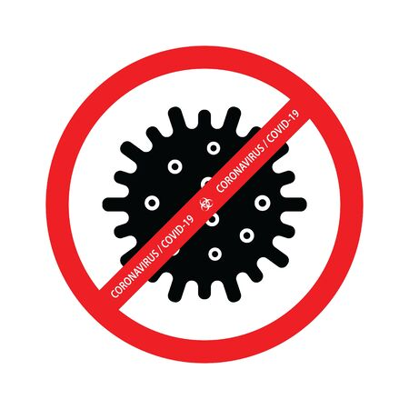 Coronavirus caution sign. Corona virus vector icon. Template for your design 일러스트