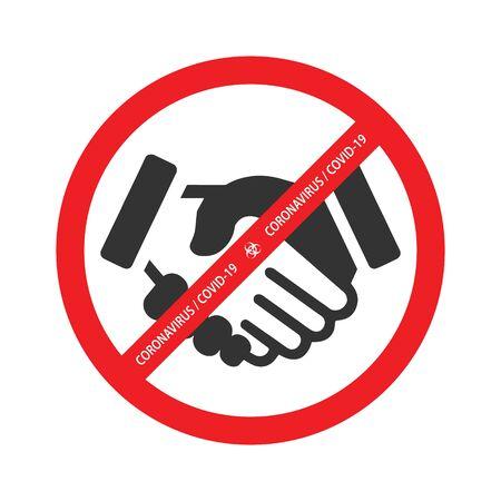 No handshake vector icon. Corona virus vector icon. Template for your design