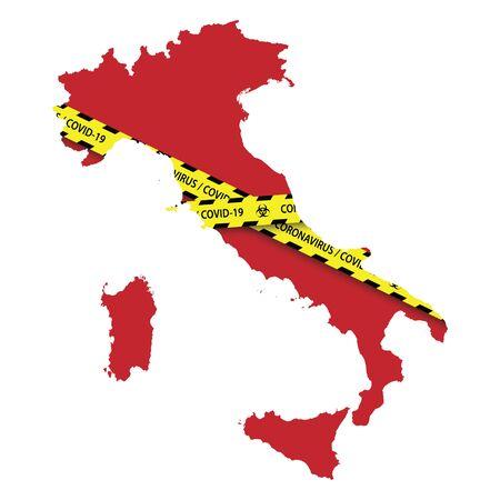 Map of Italy with warning quarantine yellow tape. Danger coronavirus Banner