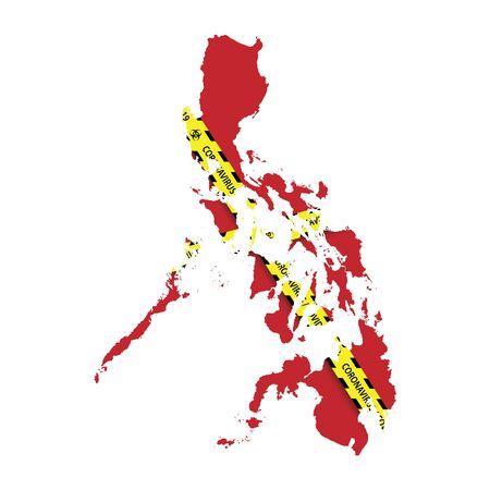 Map of Philippines with warning quarantine yellow tape. Danger coronavirus Banner
